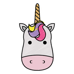 Cute fantasy unicorn character vector illustration design