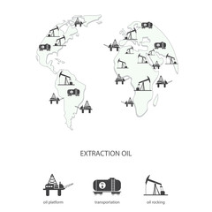 Oil production on the Earth map
