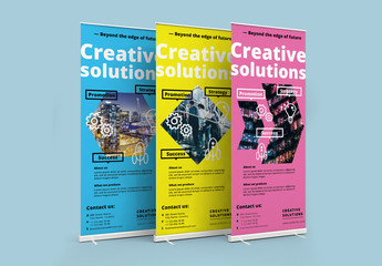 3 Colorful Roll Up Banners 1