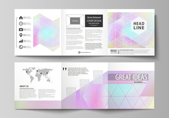 Business templates for tri fold square design brochures. Leaflet cover, abstract vector layout. Hologram, background in pastel colors, holographic effect. Blurred colorful pattern, futuristic texture.