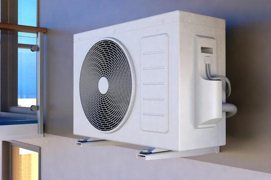 Air compressor installation on wall