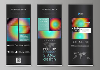 Roll up banner stands, abstract geometric style templates, corporate vertical vector flyers, flag layouts. Minimalistic design with circles, diagonal lines. Geometric shapes forming retro background.
