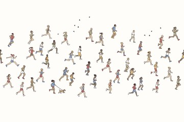 Seamless banner of tiny marathon runners, can be tiled horizontally: a diverse collection of small hand drawn men and women running from left to right