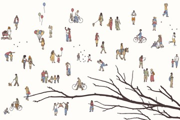 Tiny pedestrians in the street, a diverse collection of small hand drawn men and women walking through the city, with tree branch in the foreground
