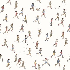 Seamless pattern of tiny marathon runners: a diverse collection of small hand drawn men and women running from left to right