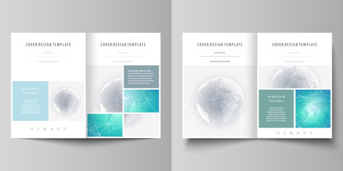 The minimalistic vector illustration of editable layout of two A4 format modern covers design templates for brochure, flyer, report. Chemistry pattern. Molecule structure. Medical, science background.