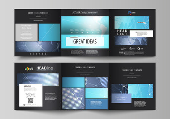 The black colored minimalistic vector illustration of the editable layout. Two creative covers design templates for square brochure. Abstract global design. Chemistry pattern, molecule structure.