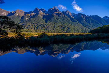 Mirror Lakes along the way to Milford Sound, New Zealand
