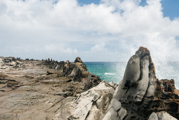 View of the Dragon's Teeth at Makaluapuna Point in Maui Hawaii