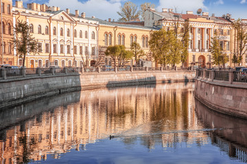 Embankment of Griboedov channel early in the morning St. Petersburg
