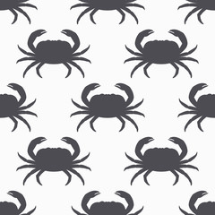 Crab silhouette seamless pattern. Seafood meat. Background for craft food packaging