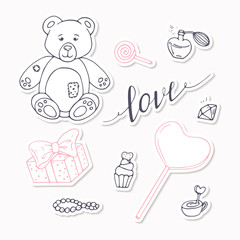 Valentine day black and red stickers collection with LOVE hand drawn sign