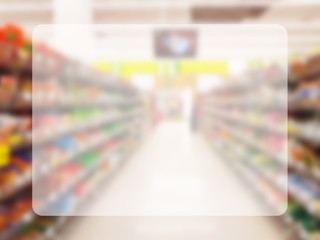transparent space in the middle for copy, information or text on blurred colorful supermarket interior