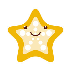 starfish tropical kawaii character vector illustration design
