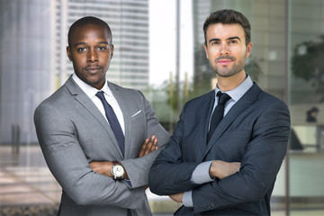 Wealthy and successful CEO business men standing in financial building with look of success and wealth
