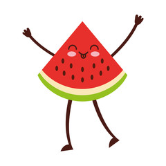 watermelon tropical and exotic fruit kawaii character vector illustration design
