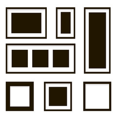 Set of wooden picture frames . Vector illustration
