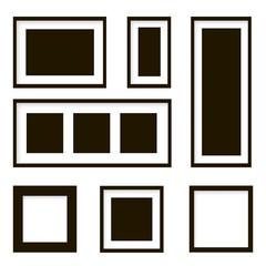 Set of wooden picture frames . Vector illustration