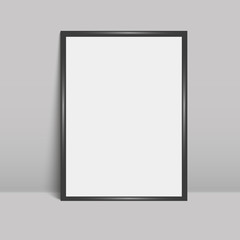 Black sheet leaning against a grey wall. Vector illustration. Mock up.