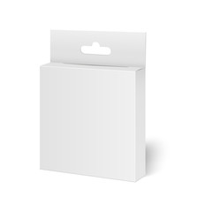 Obraz Blank vertical paper box packaging for sandwich, food, gift or other products with plastic window. Vector illustration. - fototapety do salonu