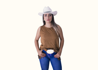 Cowgirl brunette young woman isolated in white background