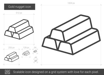 Gold nugget line icon.