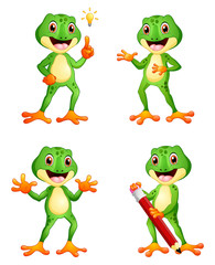 Frog cartoon set