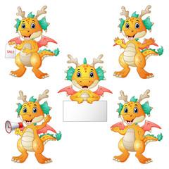 Dragons cartoon set