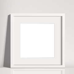 Realistic White Square Matted Picture Frame Mockup