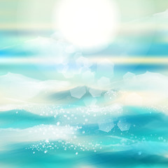 Spring and summer watercolor ocean background with shining sparks and bokeh. Vector Illustration, Graphic Design Editable For Your Design.
