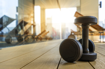 Dumbbell in Fitness Room at the morning