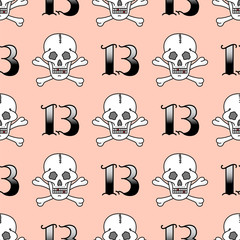 Grunge seamless pattern with skulls vector illustration human bone horror art dead skeleton.