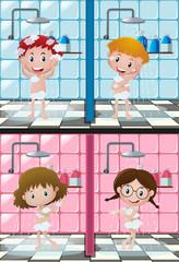 Four kids showering in bathroom