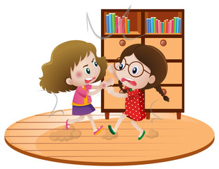 Two girls fighting in room
