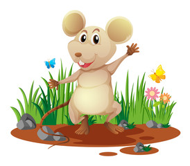 Little mouse in the garden