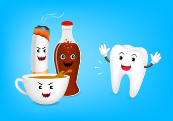 Cute cartoon tooth character fear acid of coffee, aerated soft drink and cigarette. Dental care concept, illustration isolated on blue background.