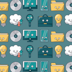 colorful background with pattern of tech icons animated vector illustration