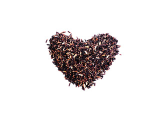 Black sticky rice cereals foods with heart shaped on white background