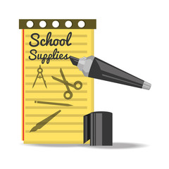accesories school tools to study education vector illustration