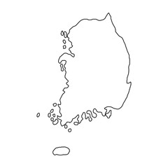 The Republic of Korea map of black contour curves of vector illustration