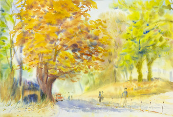 watercolor original painting golden tree flowers in sky and cloud background