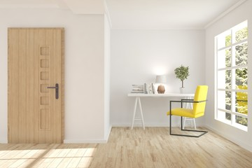 White modern room with door. Scandinavian interior design. 3D illustration