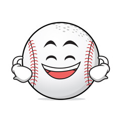 Grinning face baseball cartoon character