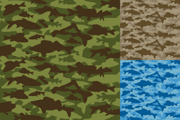 Fishing camouflage (camo) vector set