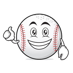 Optimistic face baseball cartoon character