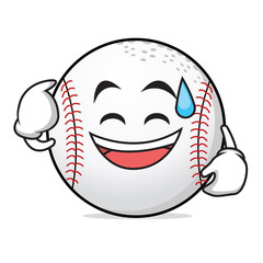 Sweat smile face baseball character