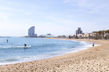 BARCELONA, SPAIN - MAY, 2017: Barceloneta beach