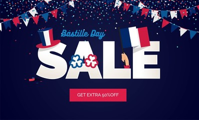 Bastille day Sale vector illustration. Sale poster with confetti, bunting flags, text and hat.