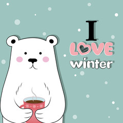 I like winter. Winter time. Vector illustration. Postcard Happy winter.