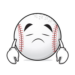 Sad face basball cartoon character